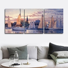 Sunrise harbor Scenery  Wall Picture Posters and Print Canvas Painting Calligraphy Decor for Living Room Home Frameless