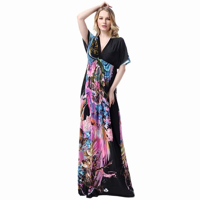 Bohemia Maxi Women Dresses Plus Size Vestidos Floral Print Batwing