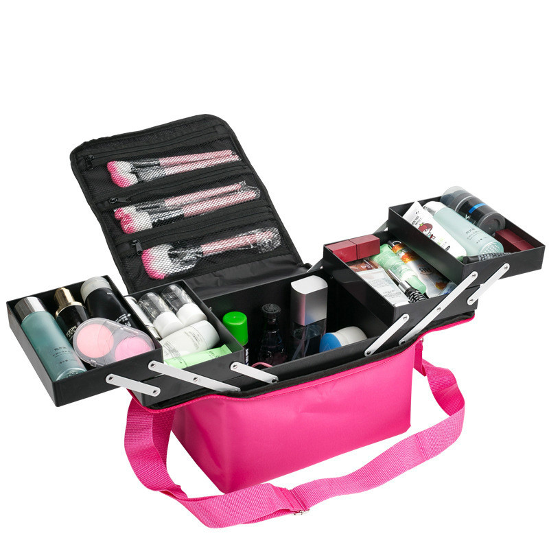 Folding Professional Cosmetic Bag Portable vanity Cases Travel Storage Box Large Capacity makeup kit Suitcase