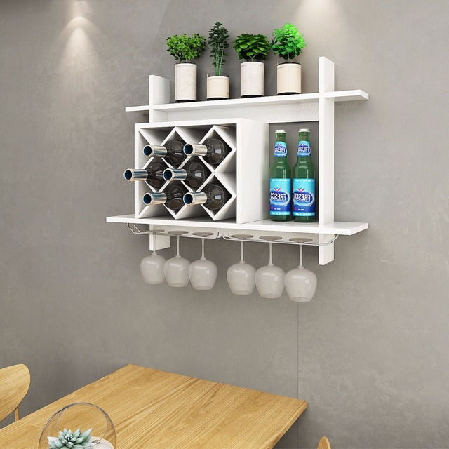 Goplus Wall Mount Wine Rack W Glass Holder Storage Shelf