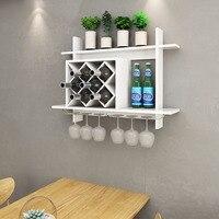 Goplus Wall Mount Wine Rack w/ Glass Holder & Storage Shelf Organizer Home Decor White Modern kitchen furniture HW57399