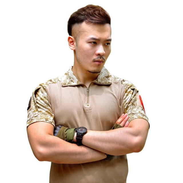 Men Summer Army Combat Tactical T Shirt Military Short Sleeve Top T-Shirts Clothes CP ACU Multicamo