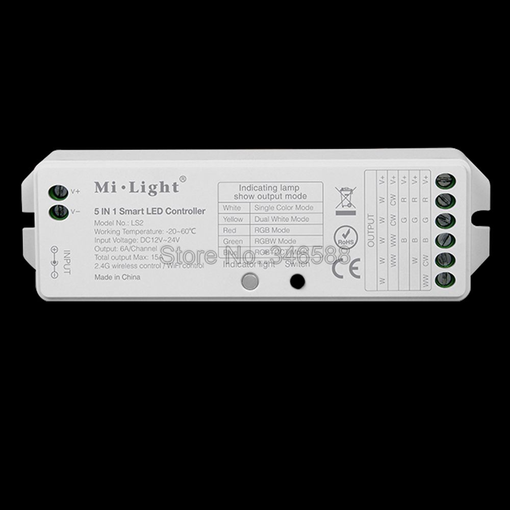 Mi.Light <font><b>LS2</b></font> DC12V 24V 15A 5 in 1 Smart 2.4G Wireless LED <font><b>Controller</b></font> for Single Color, CCT, RGB, RGBW, RGB+CCT LED Strip image