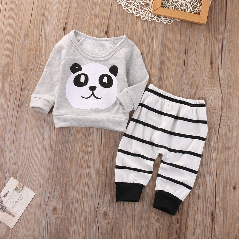 LCLL-yoyoxiu Baby Clothing Sets Kids Newborn baby Boys Girls Long Sleeve Panda T-shirt +Striped Pants Infant Clothes Outfits S