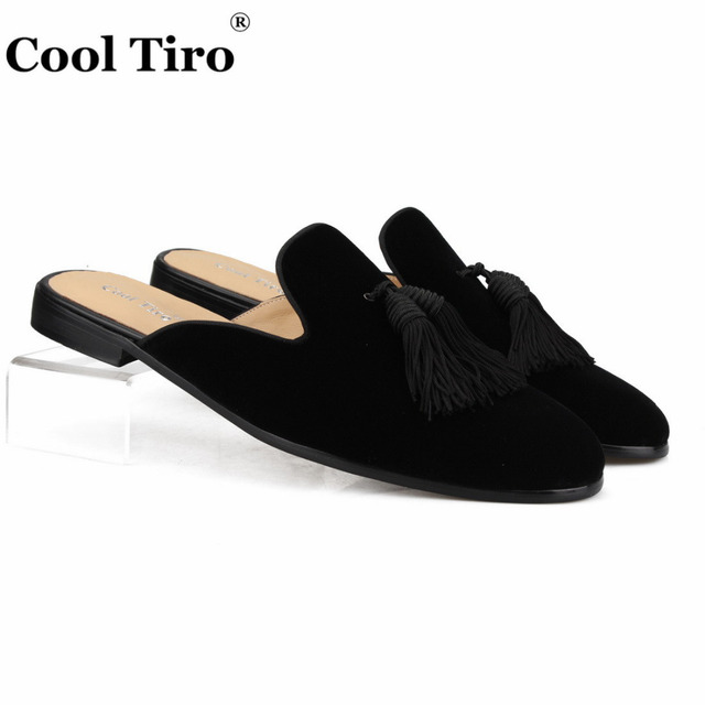 Cool Tiro Black Velvet Tassels Mules Men s Slippers Slip-On Flats Casual  Shoes Genuine Leather Handmade Shoes Indoor and outdoor 28f55893567d