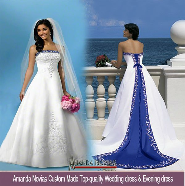 Wedding Dress White And Blue: Off Shoulder Embroidery Satin Royal Blue And White Wedding