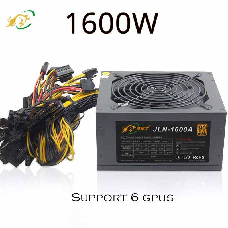 Cukup 1600 W ATX Power Supply Fan Sederhana Pertambangan 8 SATA Sumber 80 Plus untuk Bitcoin Miner Kartu Video P106 r580 RX 470 RX 480 RX 570