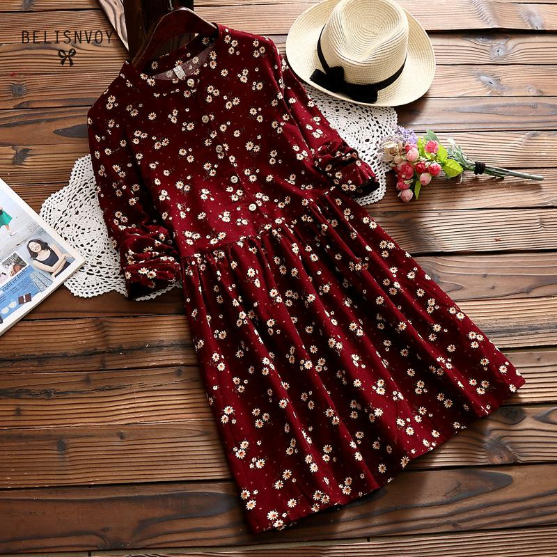 2019 New Autumn And Winter Dresses Red Blue Color Floral Print Long Sleeve Dress O Neck Corduroy Preppy Dress