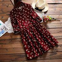 b808c309048d84 2019 New Autumn And Winter Dresses Red Blue Color Floral Print Long Sleeve  Dress O Neck