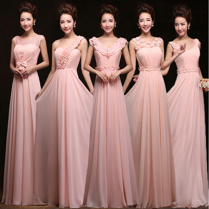 Pastel Light Pink Lace Up Back Bridesmaid Dress Sheer Sexy