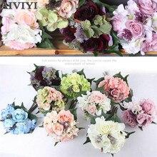 купить Touch latex Wedding of the bride hand artificial rose silk peony hydrangea flower hybrid bouquet home wedding DIY decoration дешево