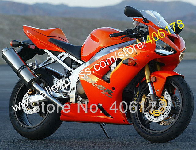 Hot SalesCustomized Injection ABS Fairing For Kawasaki 2003 2004 Ninja ZX6R Orange Bodywork Motorcycle