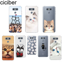 ciciber Cute Animal Cat For V40 V35 V30 V20 THINQ LG G7 G6 G5 G4 Soft TPU Phone Cases K10 K8 K7 K4 2017 2018 K9 K11 +
