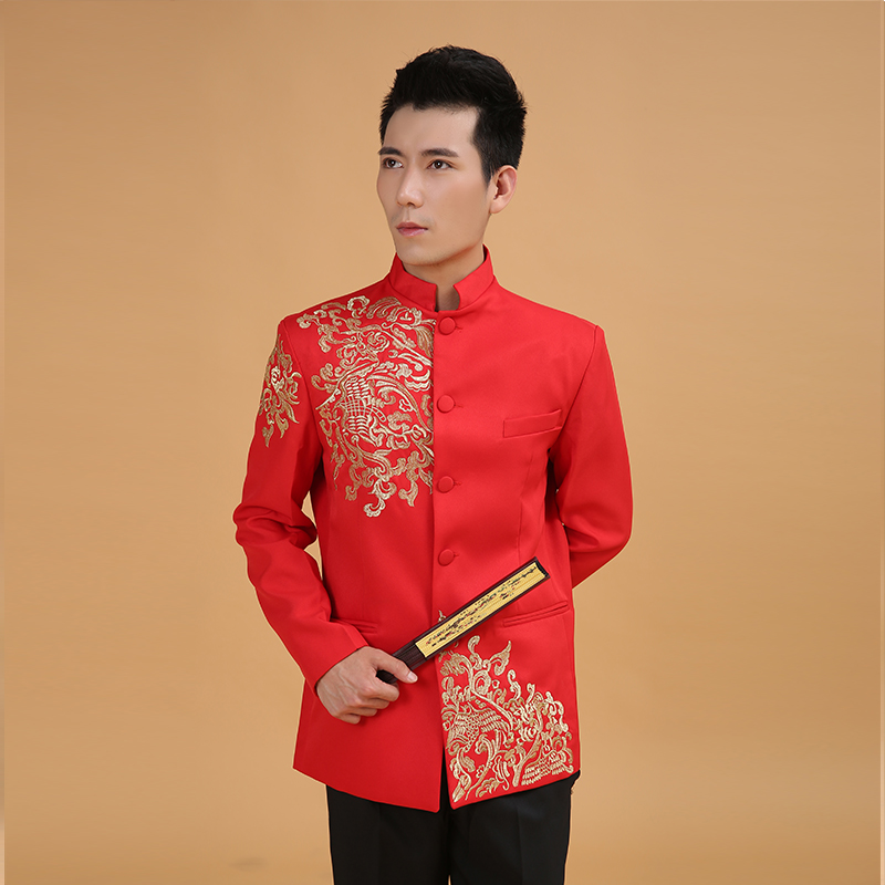 de14f54a7 Man Chinese Wedding Clothing Red Man Tunic Tang Costume Long Sleeve Chinese  Red Traditional Jacket Male Bridegroom Costume 89-in Tops from Novelty &  Special ...