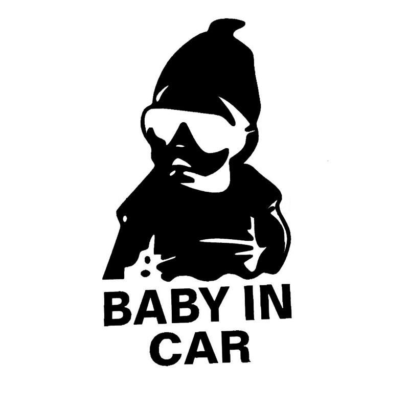 8.5*15.6CM BABY IN CAR Cool Boy Personality Car Stickers Vinyl Motorcycle Car Styling Decal Black/Silver C9-0004