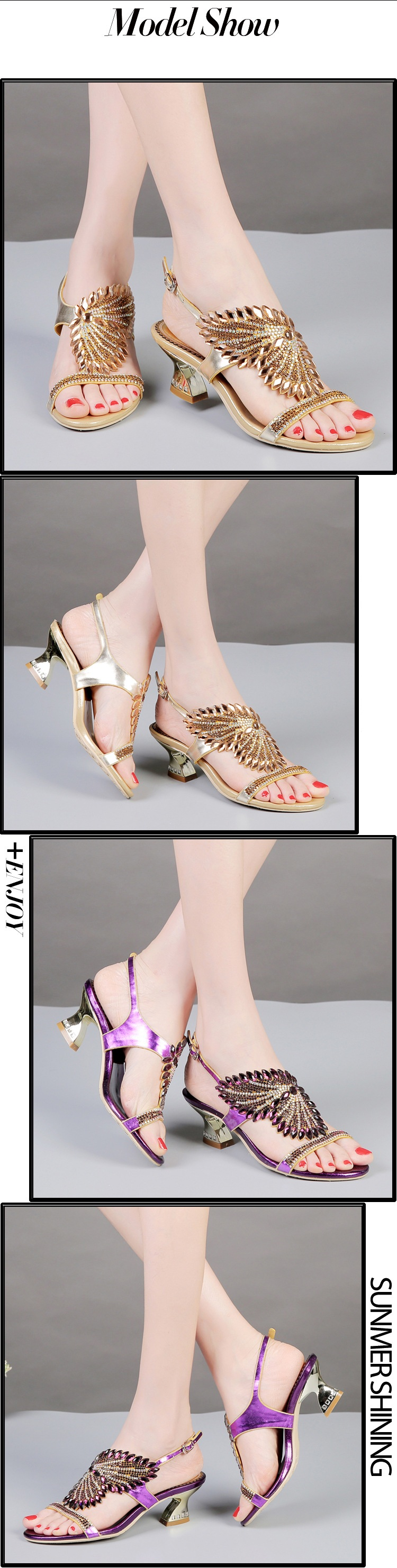 G-sparrow New Summer Womens Shoes Diamond Sandals Female Buckle Fashion Purple Gold Black Red Comfortable Thick High Heels2