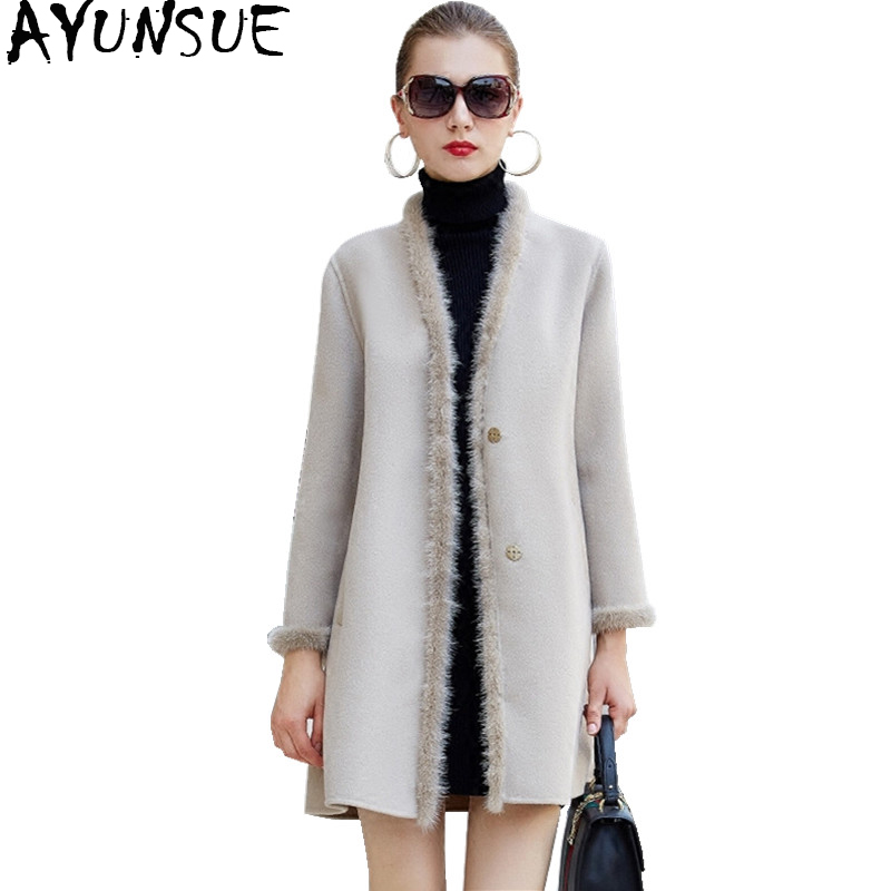 AYUNSUE 2019 Wool Coat Female Autumn Winter Double Cashmere Jackets For Women Natural Mink Fur Collar manteau femme hiver WYQ929