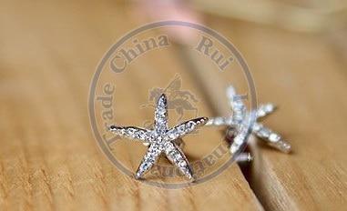 Stud Earrings ear rings Fashion for women Girls lady star slivery rhinestone nice design CN post