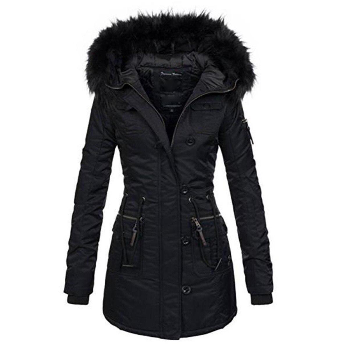 Готический для женщин зимние утепленные хлопковые пальто длинные черные искусственный мех парки с капюшоном тонкий карман на молни