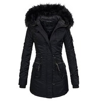 Gothic women winter thicken warm cotton coat long Black fake fur Hooded parkas Slim Pocket Zipper Female Casual plus size lady