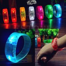 Модные вечерние голосовые активированные светодиодный светильник светится браслет светильник мигающий браслет gai
