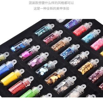 48pcs/set nail art decoration in glass bottle Flash Pink sequines hexagonal glitter nail sticker DIY 3D nail art flakes MZ070 5