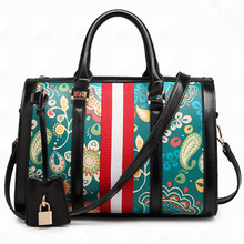 2016 women's printing handbag high-grade PU leather bags female japanned leather messenger Shoulder bag ladies laptop handbags