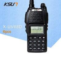 (6 шт.) KSUN UV68D Ham двухстороннее радио Walkie Talkie двухдиапазонный трансивер UHF/VHFDouble частота BUXUN X-68D (черный)