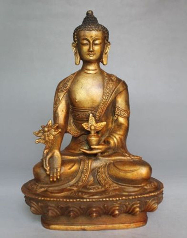 Collectable Old Brass Tibet Buddhism gild Tantra Medicine Buddha Statue