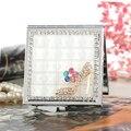 Mini beleza maquiagem espelho de bolso compacto, festa de casamento da dama de honra presentes de natal lembrança, bling cristal strass sapatos sexy
