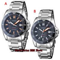 43mm Parnis black dial Bezel Sapphire glass 21 อัญมณี miyota อัตโนมัติ mens นาฬิกา