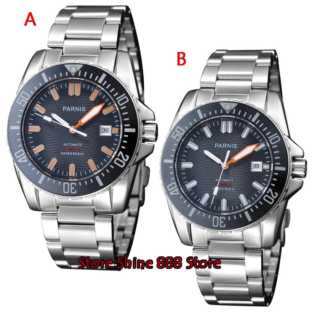 43mm Parnis zwarte wijzerplaat Keramische Bezel saffierglas 21 jewel miyota automatische dive mens watch-in Mechanische Horloges van Horloges op  Groep 1