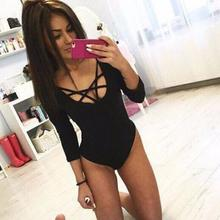 # Vestido 2017 Sexy Women Skinny Lacing Piece Rompers womens jumpsuit Bodysuit Jump Suit Calcetines mujer cheap17(China)