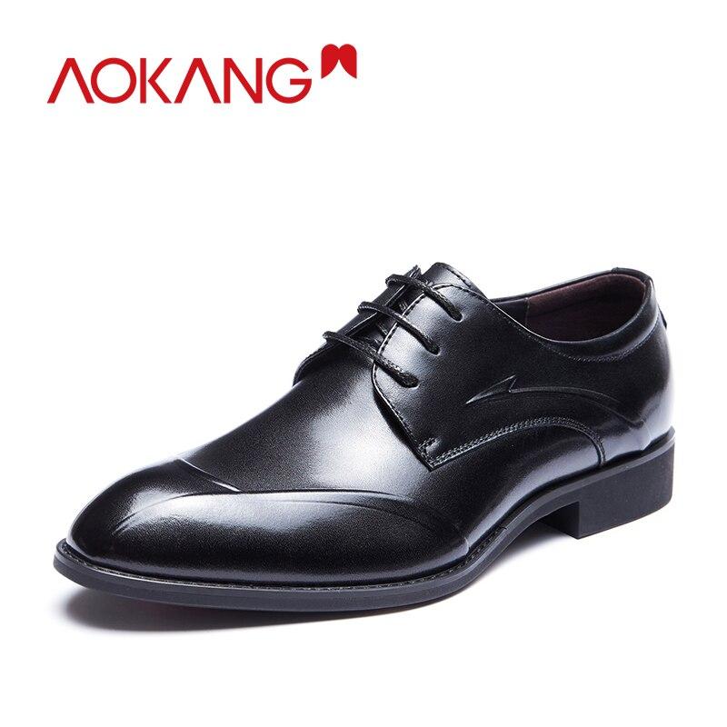 Aokang hommes chaussures habillées en cuir véritable hommes chaussures Oxford en cuir Derby hommes chaussures à lacets chaussures hommes robe de haute qualité