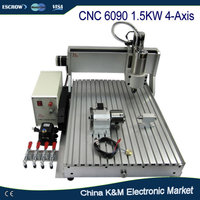 Free Shipping CNC 6090 Engraving Machine With 1 5KW VFD Water Cooled Spindle