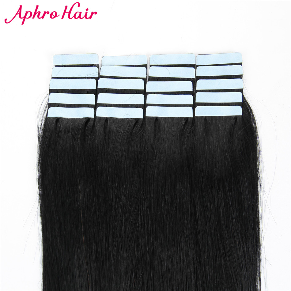 Aphro Hair Tape In Hair Extensions Non Remy 20 piece 50g Brazilian Straight Hair 100 Human
