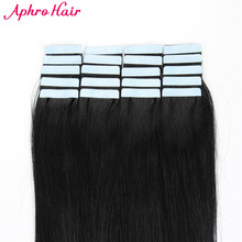 Aphro Hair Tape In Hair Extensions Non-Remy 20 piece 50g Brazilian Straight Hair 100% Human Hair 20″inch #1 Color