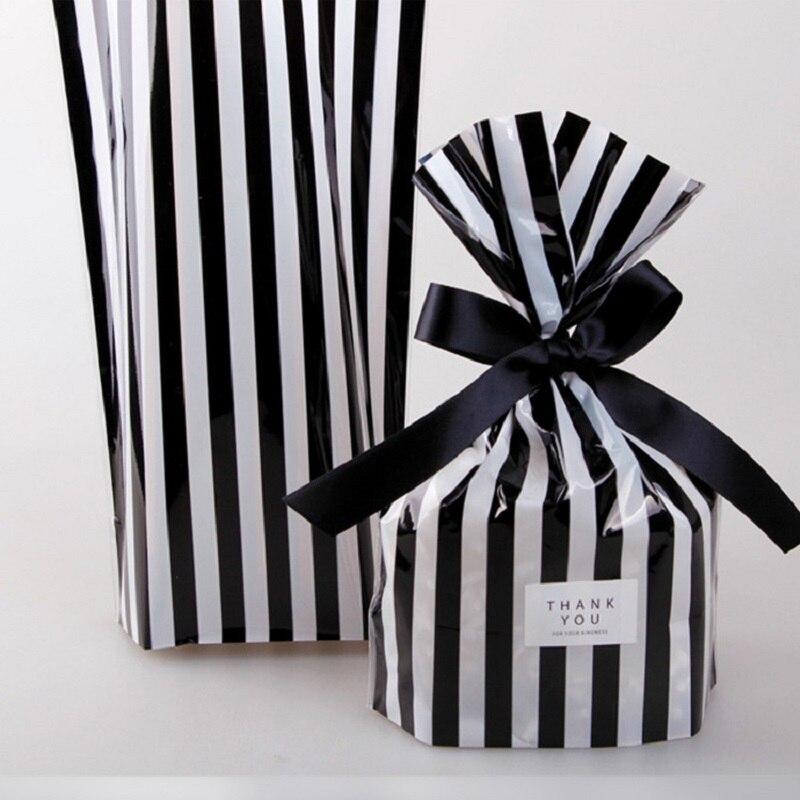 50 шт. черно-белая полосатая конфетная сумка с лентой свадебные коробка для поздравительных открыток сувениры Baby Shower Свадебная вечеринка вечерние подарочная сумка