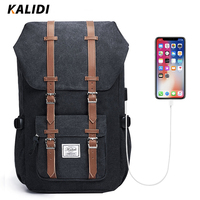 KALIDI Laptop Backpack 15.6 17.3 inch for Teenage School Travel Bag Leather Casual Men Backpacks 15 17inch Backpack Travel Women