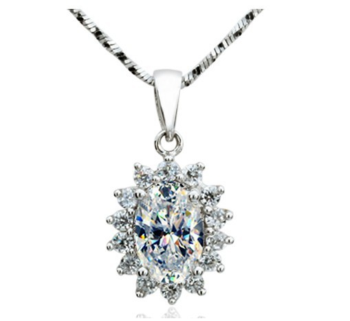 Excellent design oval shape 2ct diamond solid sterling silver fine excellent design oval shape 2ct diamond solid sterling silver fine women wedding pendant necklace last forever mozeypictures Image collections