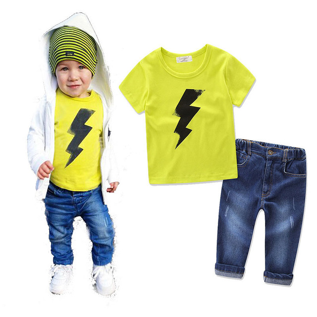 16a85b1fd821 2018 Summer Toddler Kids Boys Clothes Short Sleeve Cotton T-shirt Tops+Ripped  Denim Pant Trouser Jean 2PCS Clothing Set