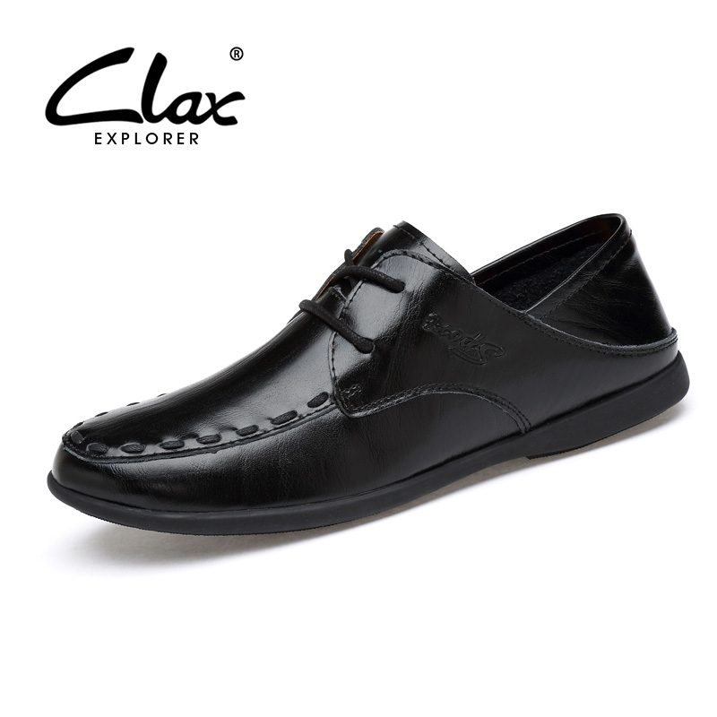 CLAX Men Leather Shoes 2017 Autumn Casual Shoe for Male Elegant Leisure Footwear Black White Designer Flat Shoe Classic Soft 2016 new autumn winter man casual shoes sport male leisure chaussure laced up basket shoes for adults black