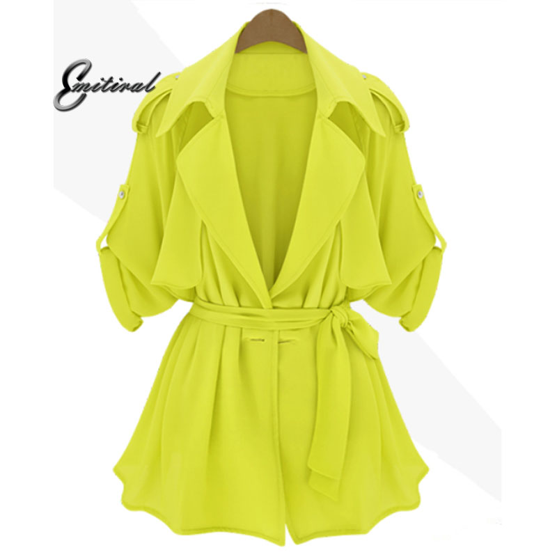 2018 Plus SizeXL- 5XL EMITIRAL 2017 Spring European Style Women Coats Elegant Yellow Blue Female Windbreaker Bow Street Jackets