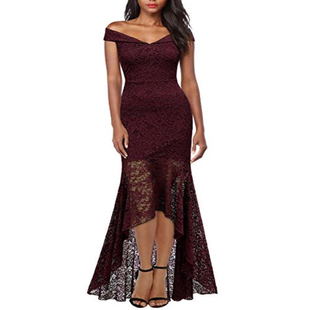 Court avant longue dos fête formelle dentelle robes 2019 Slash cou dentelle femmes robe rouge foncé bleu haut bas robe Vestidos De Novia - 3