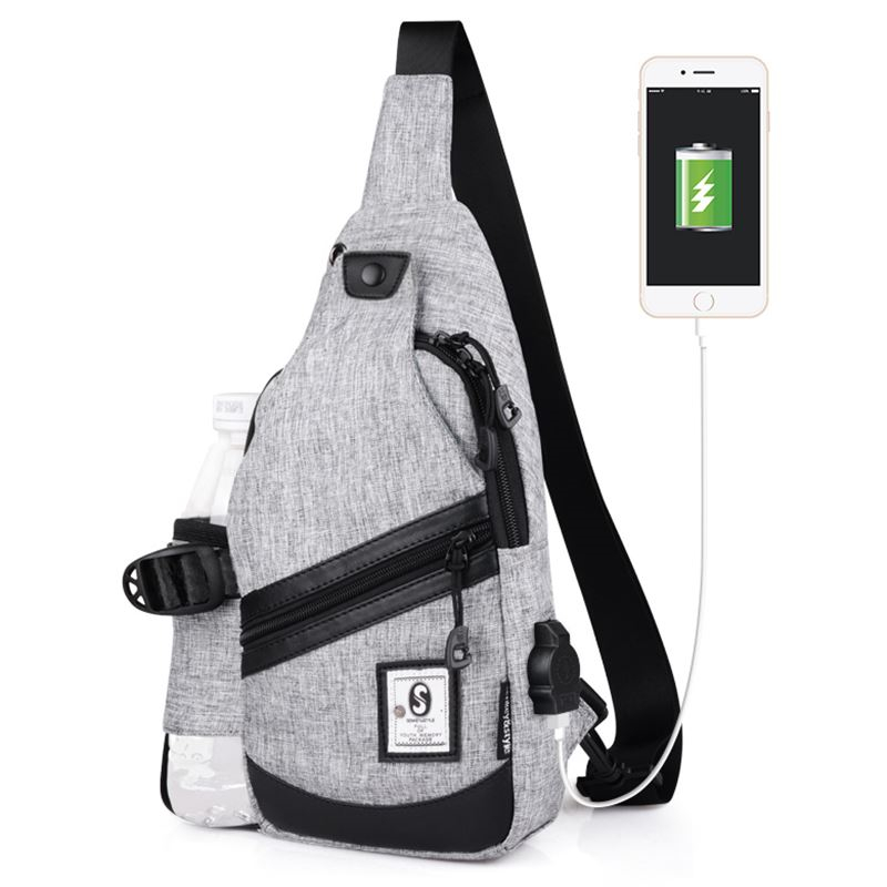 Canvas Chest Bag for Men Women Crossbody Shoulder Strap pack USB Charging Oxford Crossbody Bags Messenger for Short Trip XA12WC