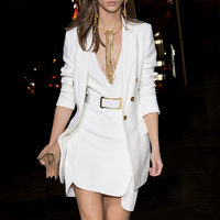 Runway Designer Eur american Fashion Women Dress Suits Long White Blazer Sleeveless Dress Solid Color Twin Sets with Belt