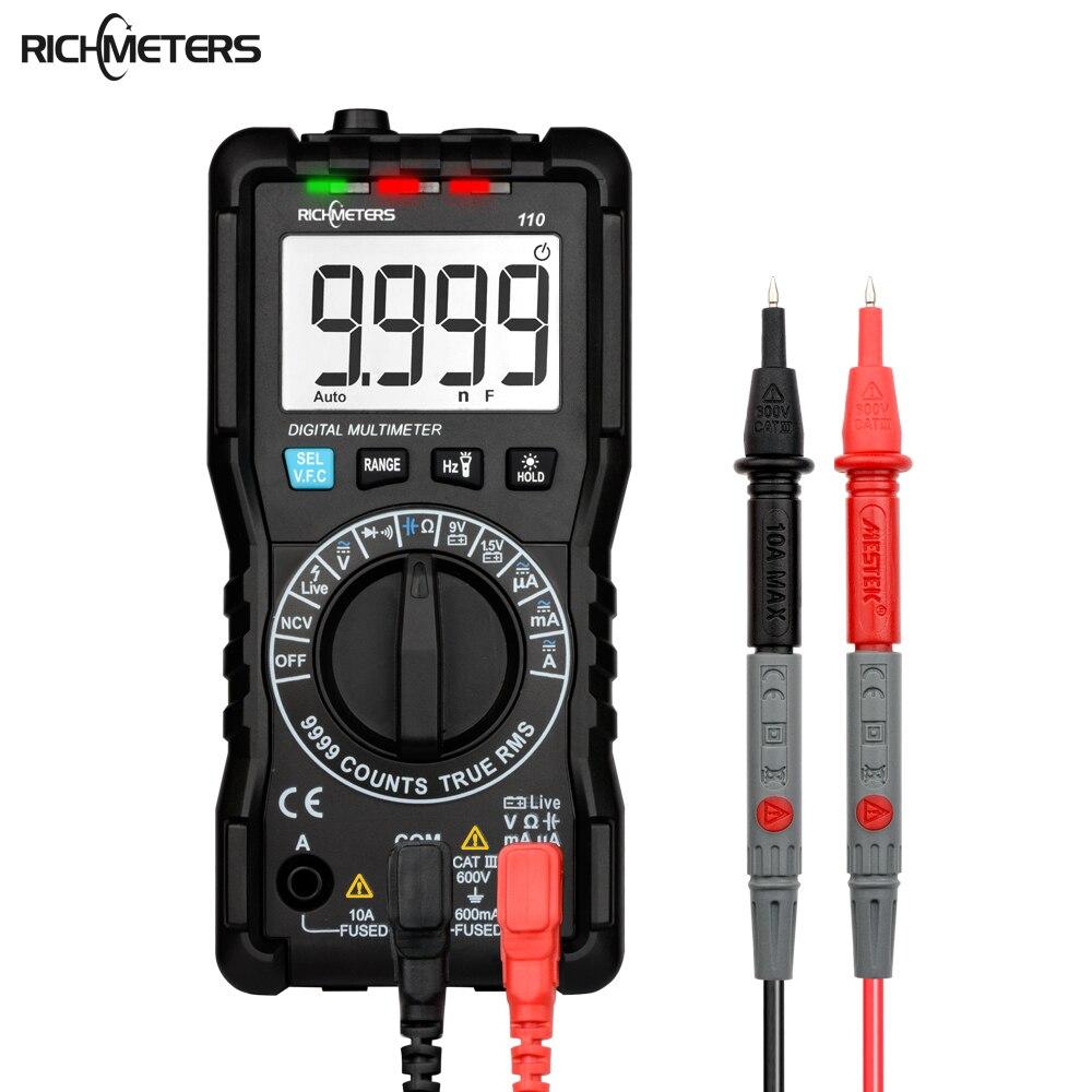 RICHMETERS 110 Multimètre numérique TRUE-RMS 9999 Compte NCV Rétro-Éclairage AC DC Résistance De Tension Testeur De Batterie