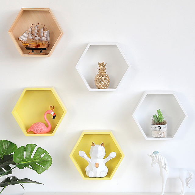 Hexagon frame wall partition shelf living room wall hanging rhombus creative lattice wall shelf Decorative frame