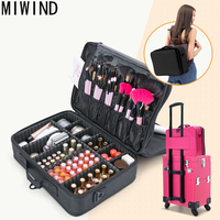 MIWIND 2017 Women High Quality Professional Makeup Bag Cosmetic Bag Large Space Beauty Box Organizer Case