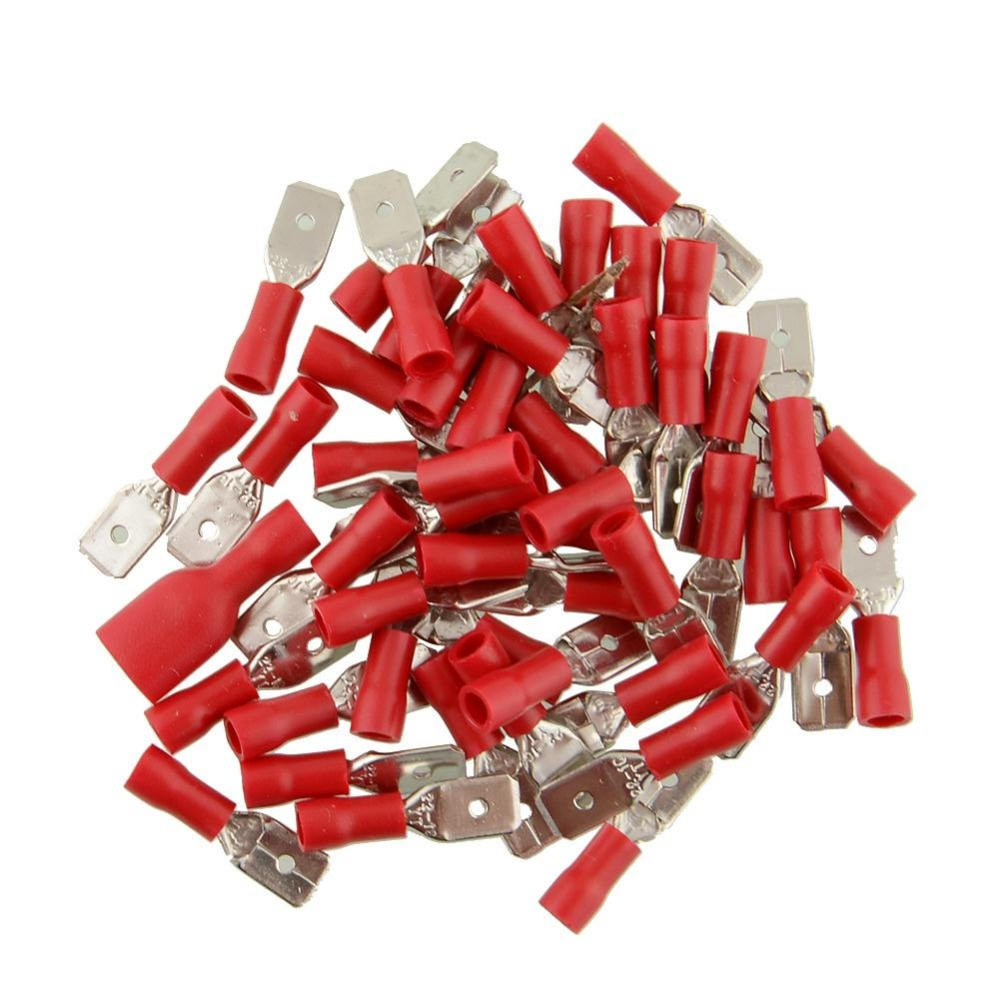 50pair 100x Red Fully Insulated Red Spade Electrical Crimp Connectors Terminal Terminals Male Female Kit